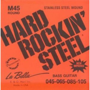 Струны для бас-гитары La Bella Hard Rockin` Steel M45